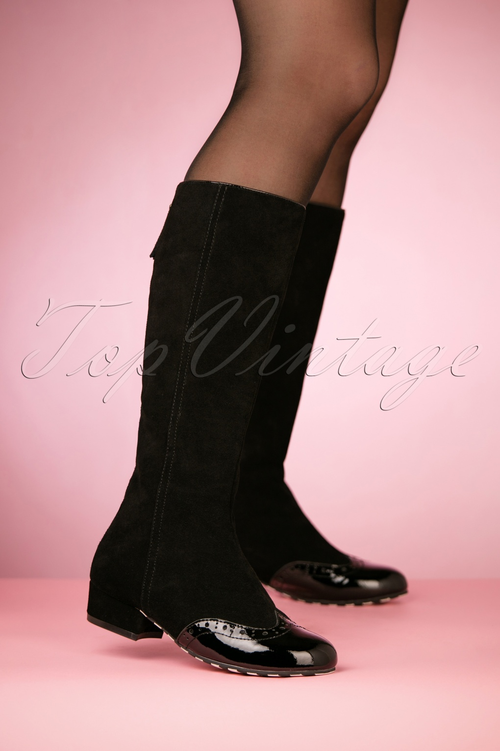 Vintage Style Shoes, Vintage Inspired Shoes 60s Alice Dreaming Suede Boots in Black £180.04 AT vintagedancer.com