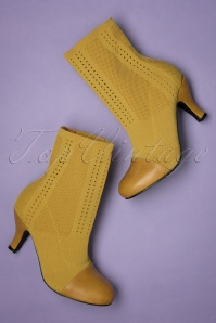 Pepper Ankle Sock Booties Années 60 en Jaune Moutarde