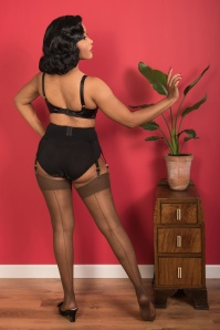 40s Retro Seamed Stockings in Coffee