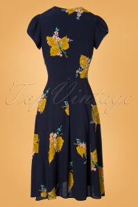 The House of Foxy Ava Tea Dress in Gold Leaf Print 102 39 27714 20181114 007W