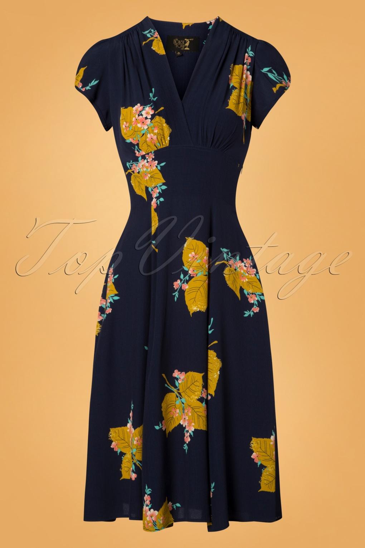 1930s Day Dresses, Afternoon Dresses History 30s Ava Gold Leaf Tea Dress in Navy £148.48 AT vintagedancer.com