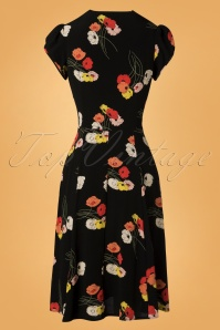 The House of Foxy Ava Tea Dress in Black Floral Print 102 14 27713 20181114 006W