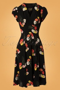 The House of Foxy Ava Tea Dress in Black Floral Print 102 14 27713 20181114 002W