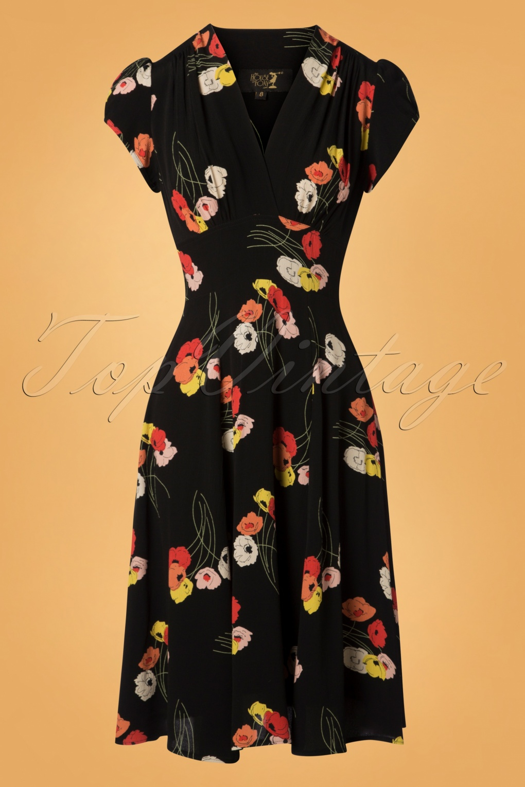 1930s Dresses | 30s Art Deco Dress 30s Ava Poppy Spray Tea Dress in Black £143.86 AT vintagedancer.com