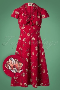 40s Pretty Tea Dress in Red Spot Floral