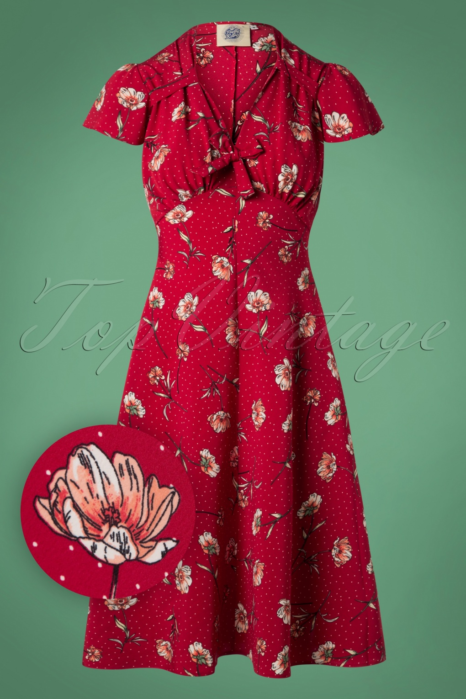 1940s Tea Dresses, Mature, Mrs. Long Sleeve Dresses 40s Pretty Tea Dress in Red Spot Floral £65.71 AT vintagedancer.com