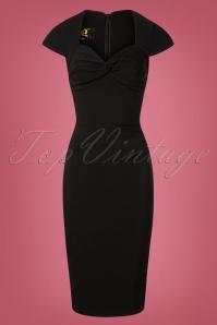 50s Foxy Lady Wiggle Dress in Black