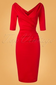 50s Mansfield Scarlett Pencil Dress in Red