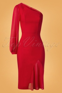 50s Sultana Pencil Dress in Red