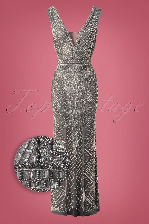 Downton Abbey Inspired Dresses 20s Grace Embellished Maxi Dress in Slate £208.81 AT vintagedancer.com