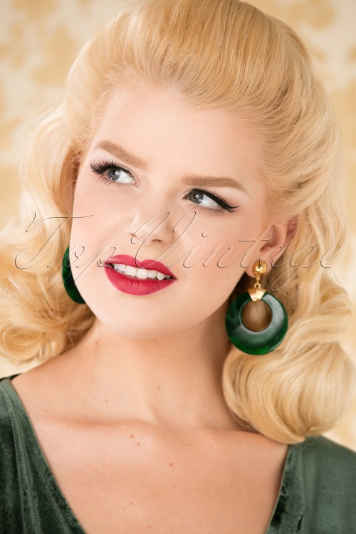 Glitz o Matic Green Hoop earrings 27994 10042018 021W