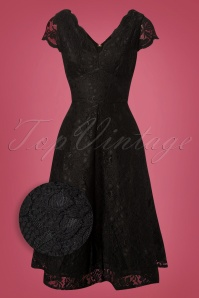 50s Jolie Lace Short Sleeve Prom Dress in Black