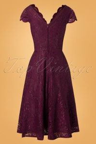 Jolie Moi Burgundy Cap Sleeve Lace Swing Dress 102 20 28206 20181115 008W