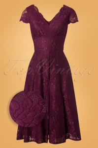 50s Jolie Lace Short Sleeve Prom Dress in Burgundy
