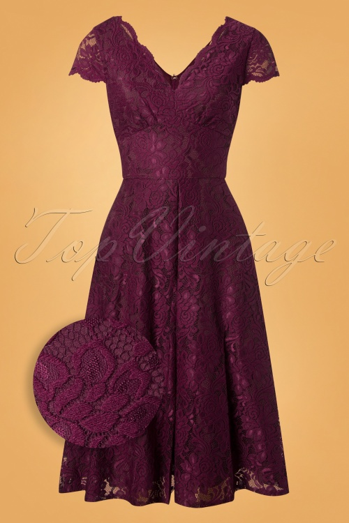 Jolie Moi Burgundy Cap Sleeve Lace Swing Dress 102 20 28206 20181115 002Z