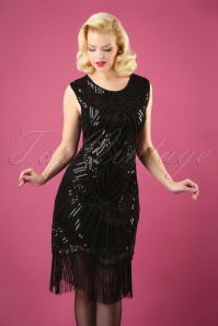 The Great Gatsby Dress Années 20 en Noir