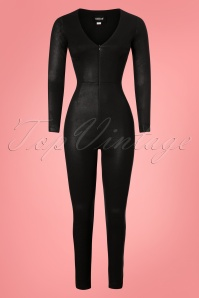 50s Selina Feline Jumpsuit in Black