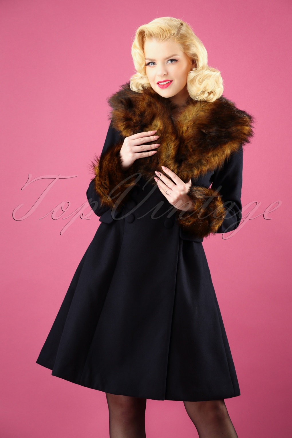 Vintage Coats & Jackets | Retro Coats and Jackets 50s Roxy Coat in Navy £133.75 AT vintagedancer.com