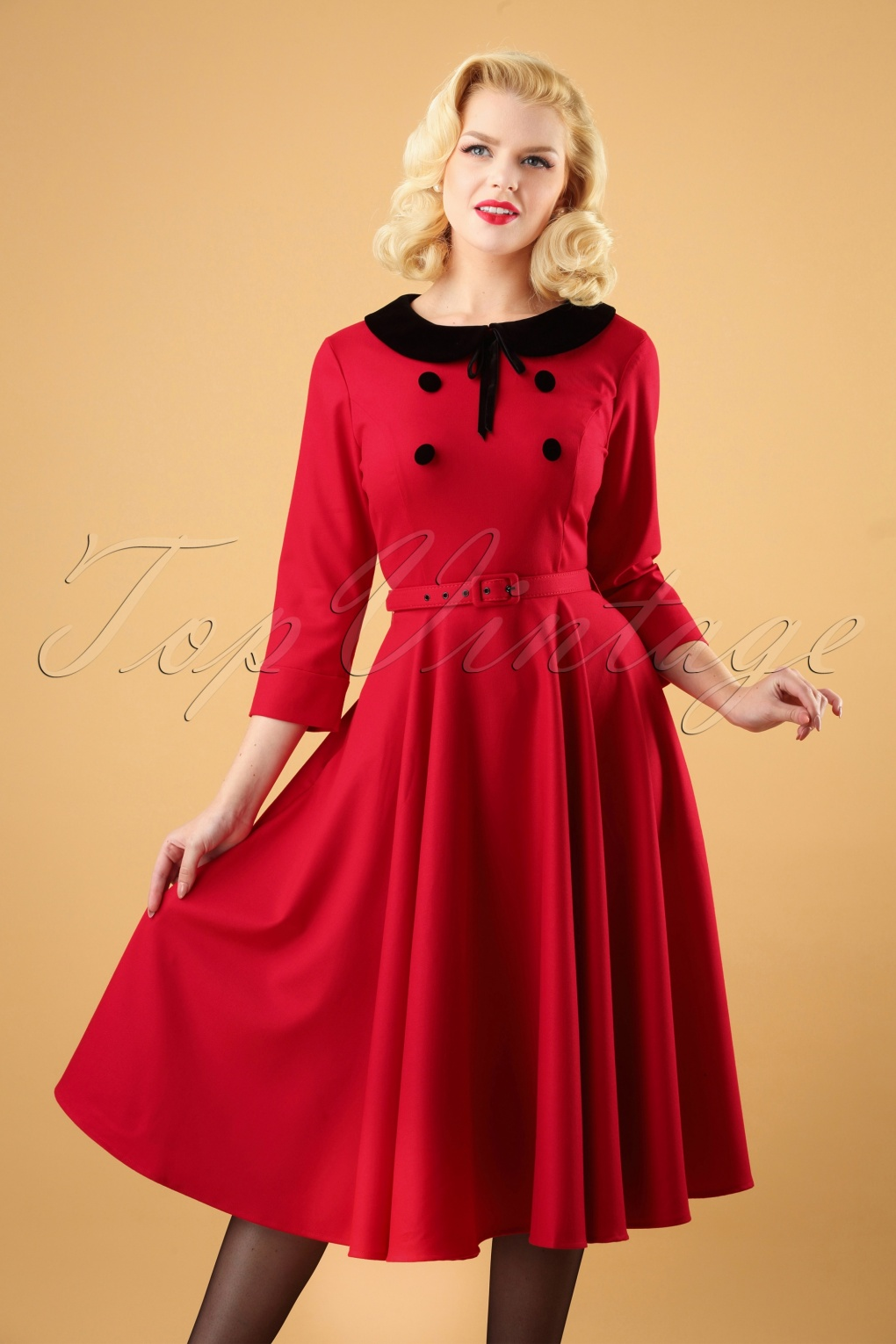 1950s Dresses, 50s Dresses | 1950s Style Dresses 50s Christine Swing Dress in Red £86.48 AT vintagedancer.com
