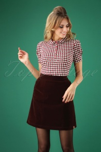 60s Messie Bessie Velours Skirt in Brown