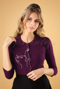 Banned Retro 60s Cat Scallop Collar Cardigan in Aubergine