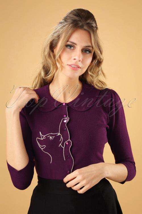 Banned Cat Scallop Collar Cardigan Purple 26242 20180705 0003W