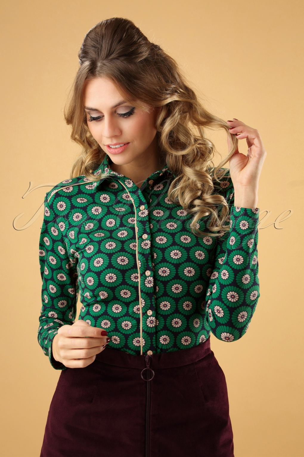 60s Shirts, T-shirt, Blouses | 70s Shirts, Tops, Vests 60s Love Was Really Meant For You Blouse in Green £62.33 AT vintagedancer.com