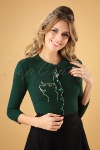 60s Cat Scallop Collar Cardigan in Dark Green