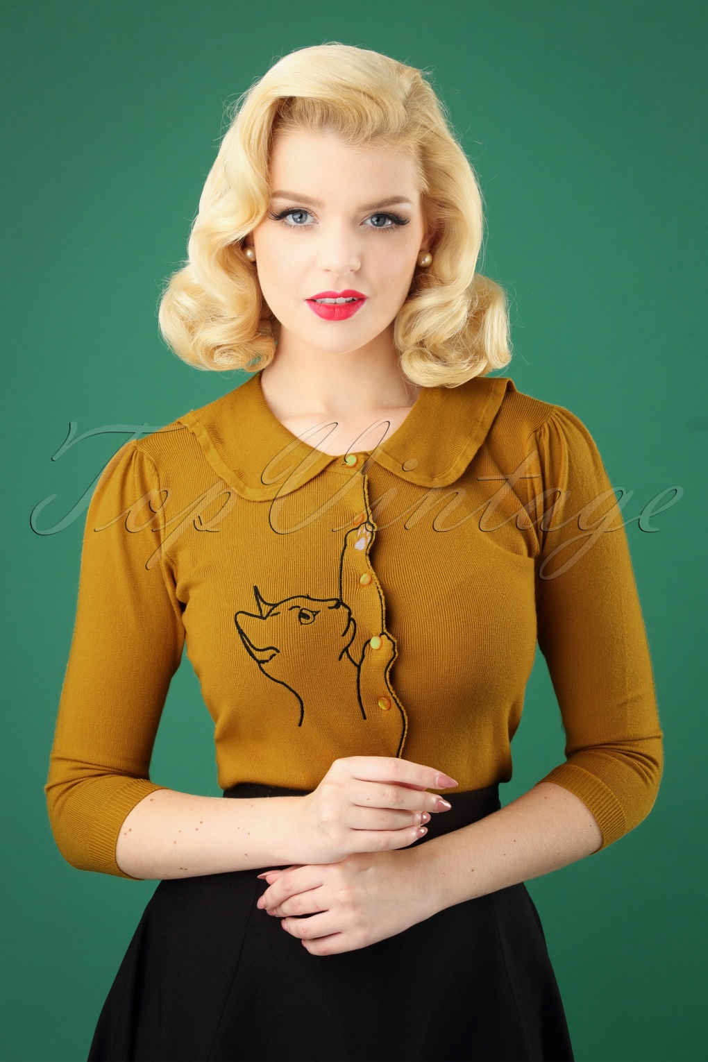 Vintage Sweaters: Cable Knit, Fair Isle Cardigans & Sweaters 60s Cat Scallop Collar Cardigan in Mustard £37.12 AT vintagedancer.com