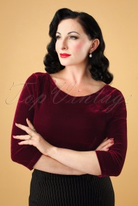 Collectif Clothing Twinnie Velvet Top in Red 110 20 24855 20180926 0004W