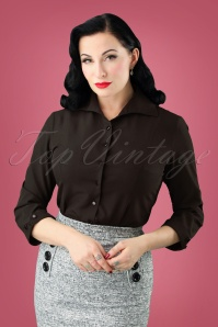 50s Janine Blouse in Black