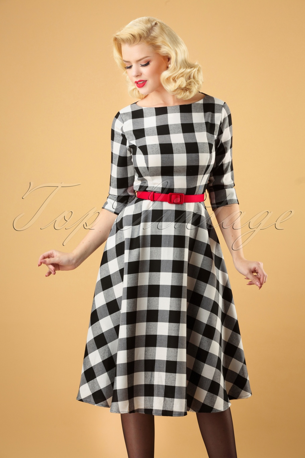 1950s Dresses, 50s Dresses | 1950s Style Dresses 50s Suzanne Gingham Swing Dress in Black and White £70.26 AT vintagedancer.com