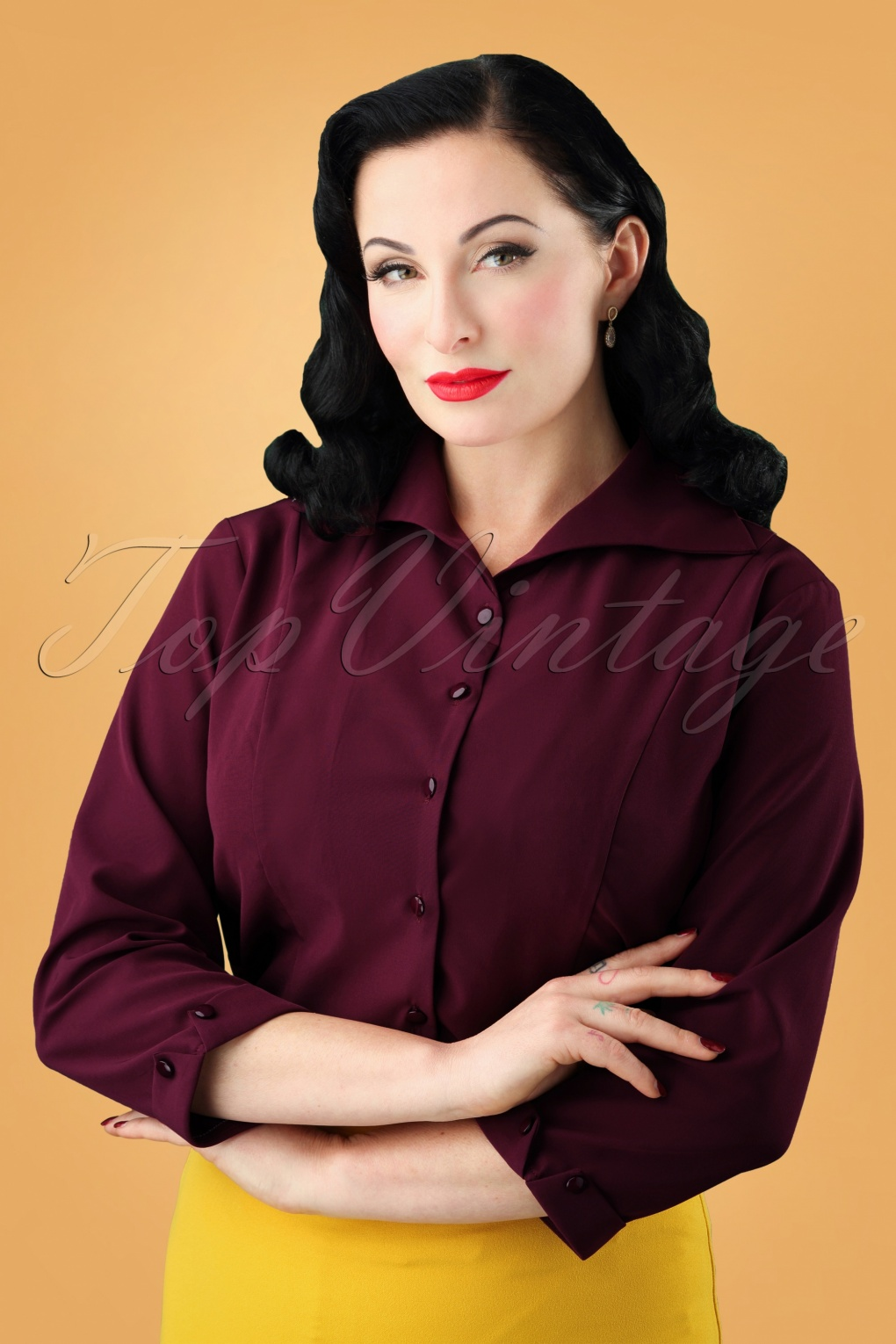 1950s Rockabilly & Pin Up Tops, Blouses, Shirts 50s Janine Blouse in Raspberry £24.95 AT vintagedancer.com