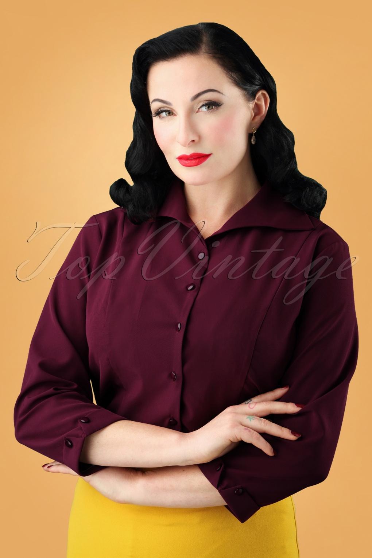Dress Like the Marvelous Mrs. Maisel 50s Janine Blouse in Raspberry £12.23 AT vintagedancer.com