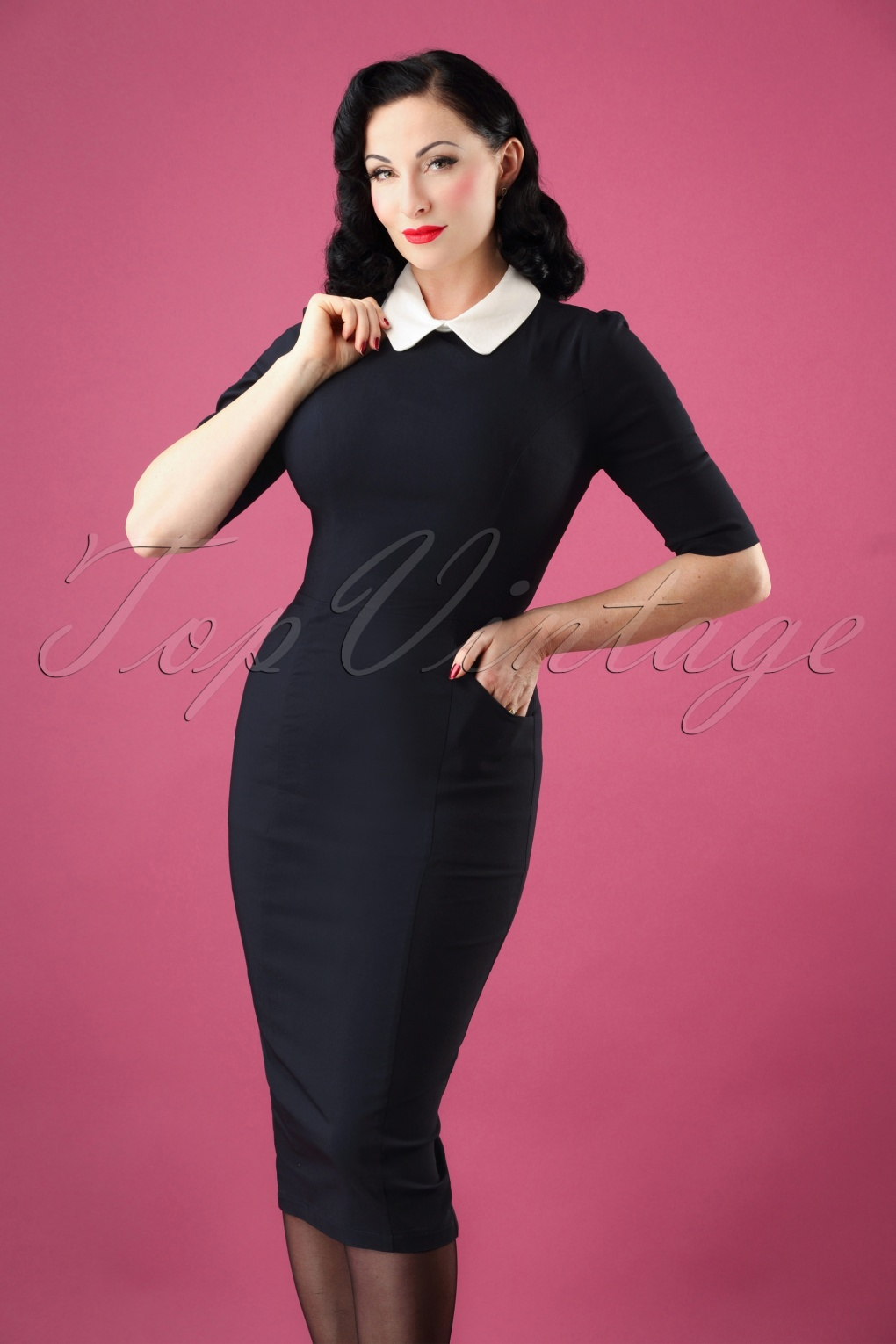 1950s Housewife Dress | 50s Day Dresses 50s Winona Pencil Dress in Navy £38.86 AT vintagedancer.com
