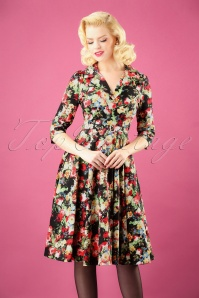 Hearts and Roses Black Multi Floral Swing Dress 102 14 26959 3W