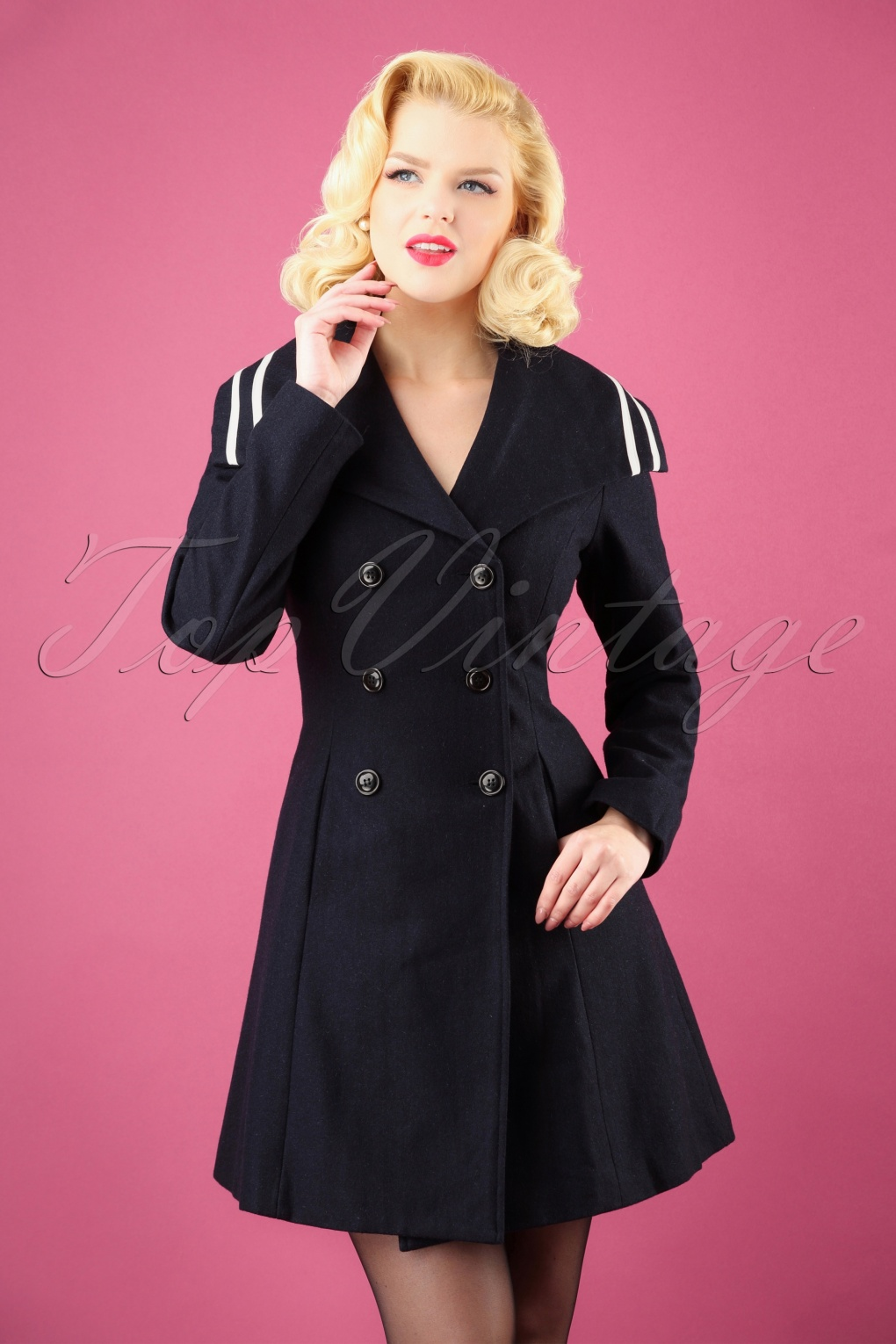 1950s Jackets, Coats, Bolero | Swing, Pin Up, Rockabilly 50s Jennifer Nautical Coat in Navy £60.52 AT vintagedancer.com