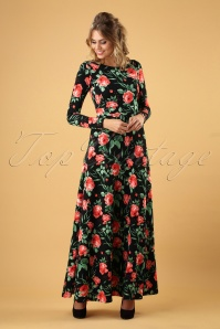 Vintage Chic for TopVintage 70s Carly Roses Maxi Dress in Black
