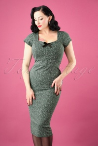 50s Josie Bow Pencil Dress in Green Melange
