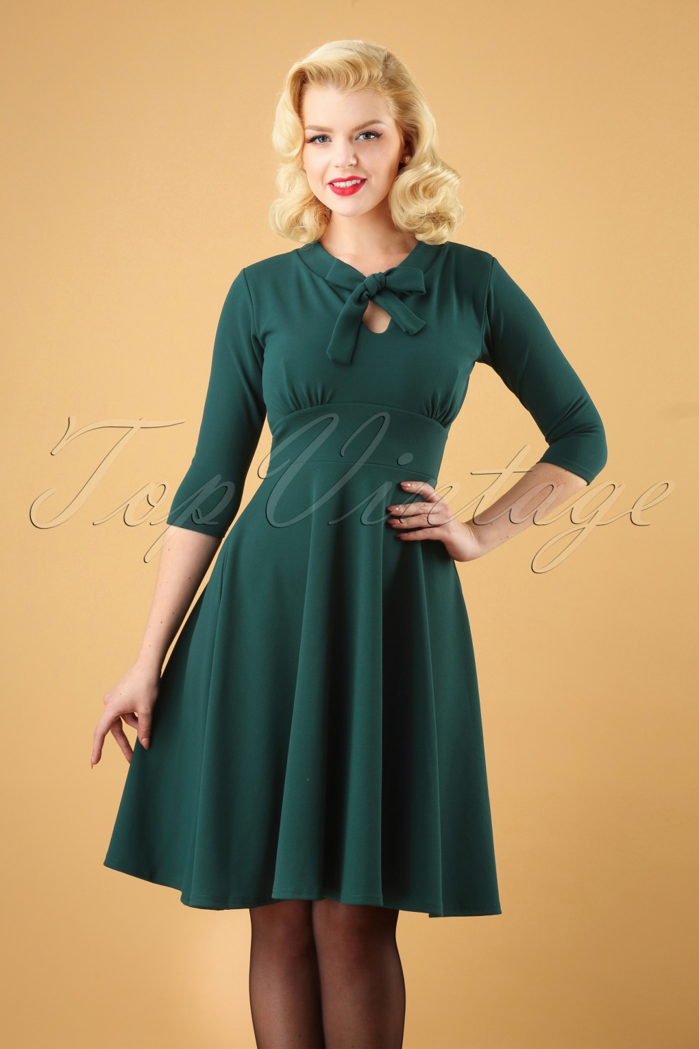 1950s Housewife Dress | 50s Day Dresses 50s Geraldine Swing Dress in Petrol £43.18 AT vintagedancer.com