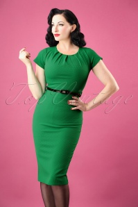 Vintage Chic Textured Fabric Emerald Green Pencil Dress 27371 20180927 0008W