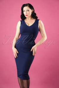 50s Sherry Pencil Dress in Navy