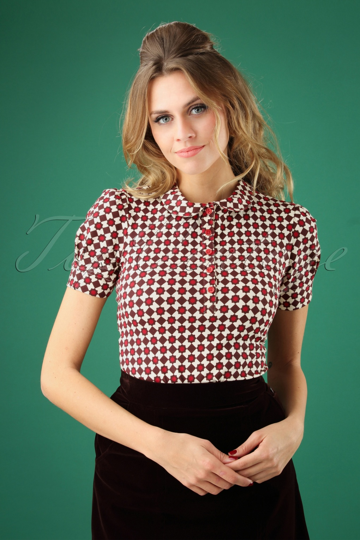 60s Shirts, T-shirt, Blouses | 70s Shirts, Tops, Vests 60s Bubinette Balkan Top in Jeannies Tiles £44.49 AT vintagedancer.com
