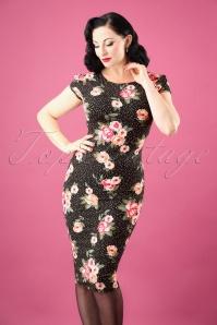 50s Victoria Floral Dots Pencil Dress in Black