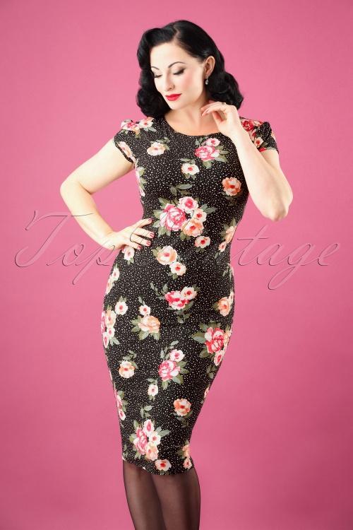 Vintage Chic Mayfair Black Floral Pencil Dress 100 14 26452 20180927 0005W
