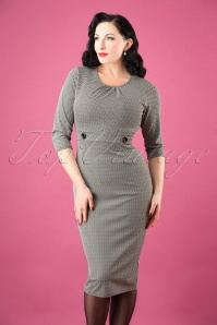 50s Michelle Herringbone Pencil Dress in Black and White