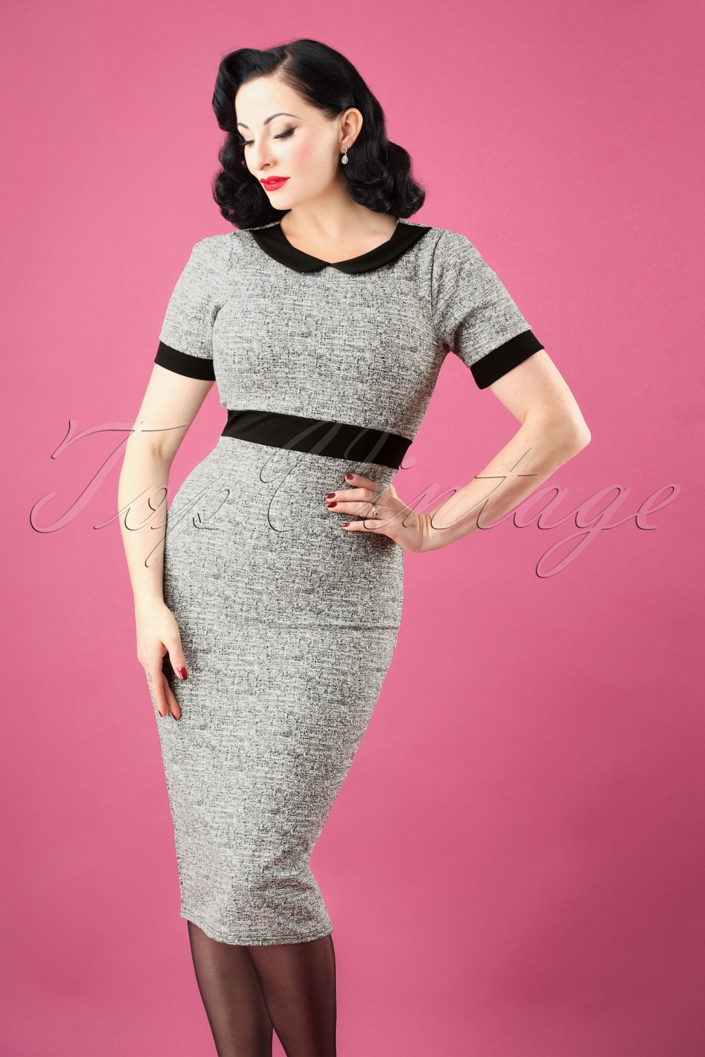 1960s Style Dresses, Clothing, Shoes UK 50s Patty Pencil Dress in Grey and Black Melange £39.78 AT vintagedancer.com