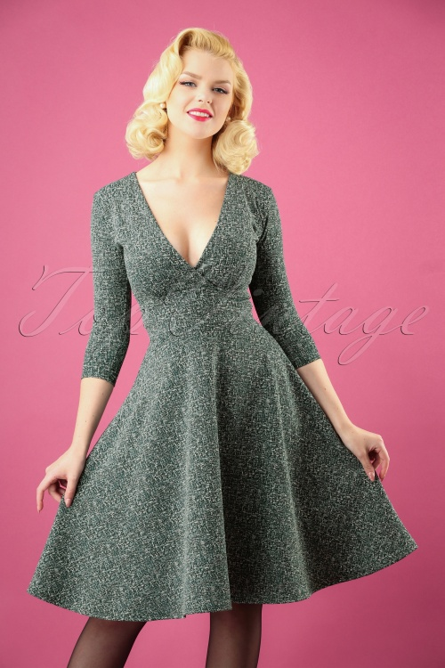 Vintage Chic Green Tweed Fabric Dress 102 49 27795 20181011 0353W
