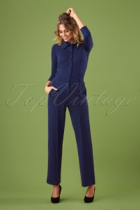 70s Macy Milano Lurex Jumpsuit in Blue