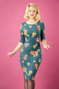 50s Therrie Floral Dots Pencil Dress in Teal